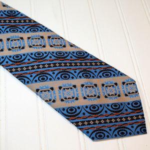 VINTAGE Boho Retro Gypsy Festival Stripe Neck Tie